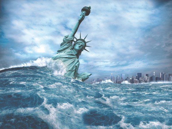 Tsunami hits the statue of liberty